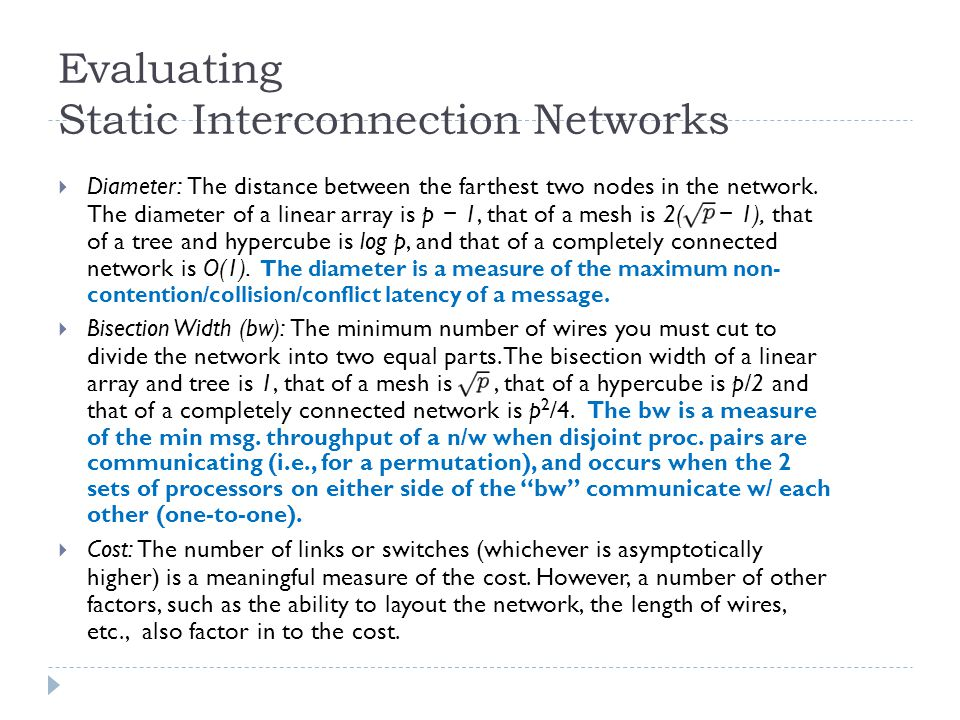 Evaluating Static Interconnection Networks