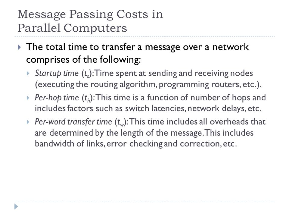 Message Passing Costs in Parallel Computers