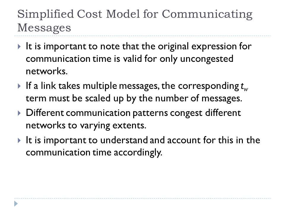 Simplified Cost Model for Communicating Messages
