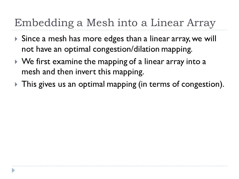 Embedding a Mesh into a Linear Array