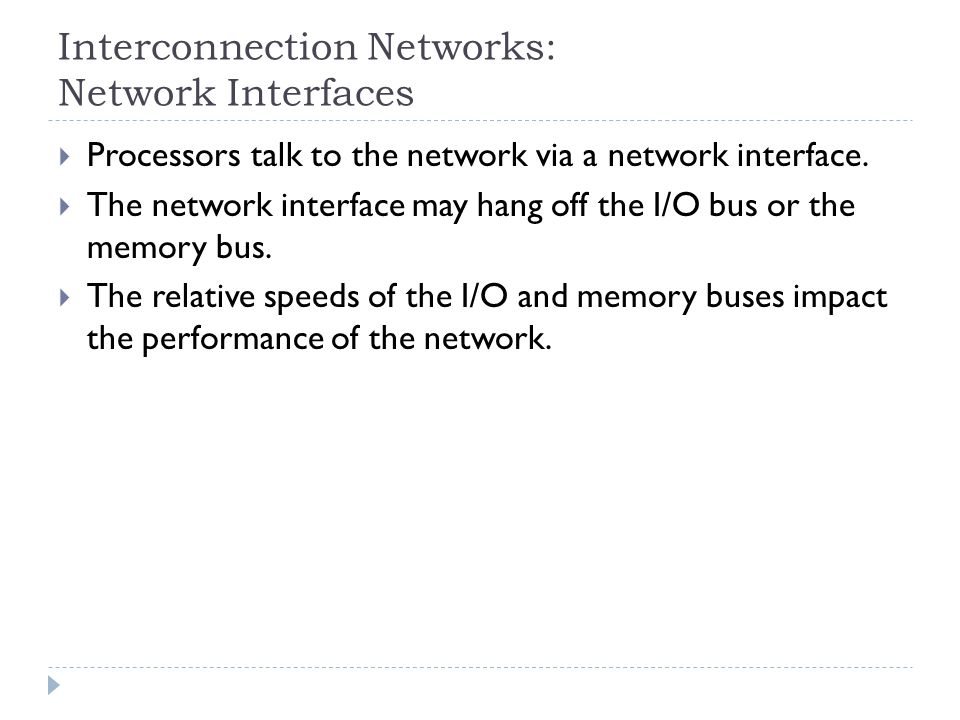 Interconnection Networks: Network Interfaces