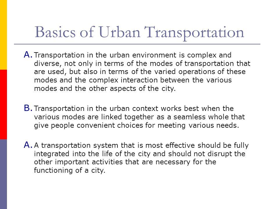 Basics of Urban Transportation
