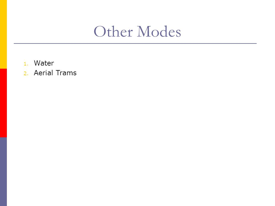 Other Modes Water Aerial Trams