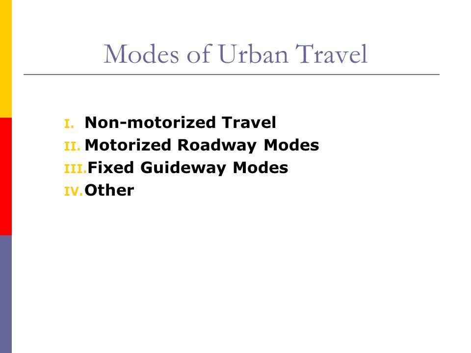 Modes of Urban Travel Non-motorized Travel Motorized Roadway Modes