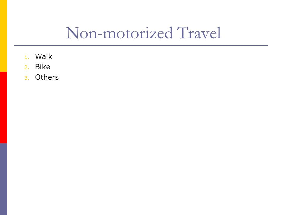 Non-motorized Travel Walk Bike Others
