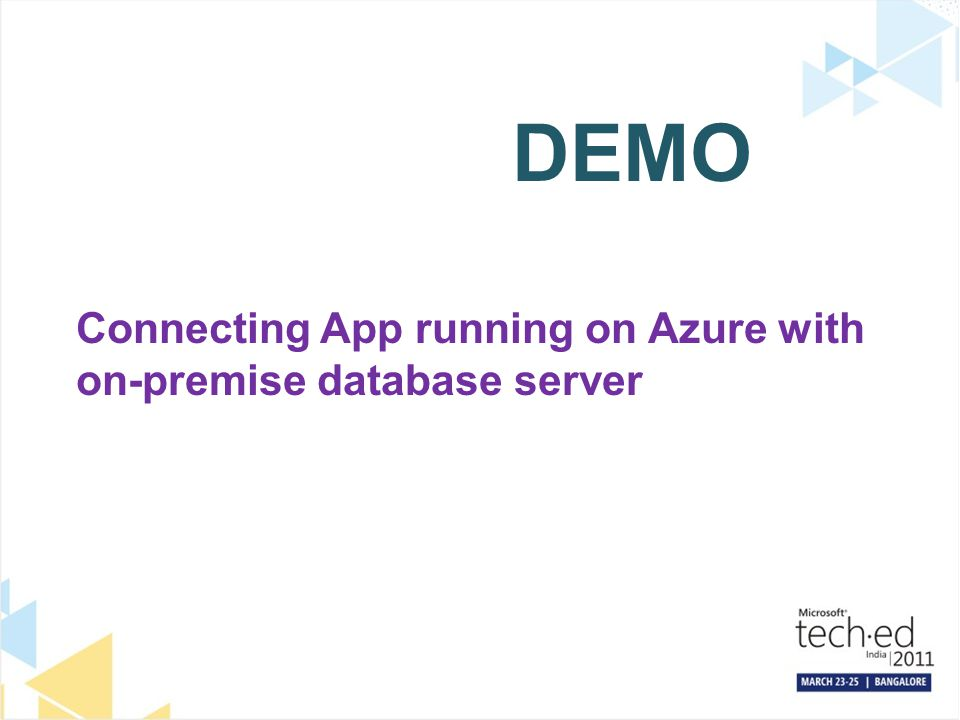 DEMO Connecting App running on Azure with on-premise database server