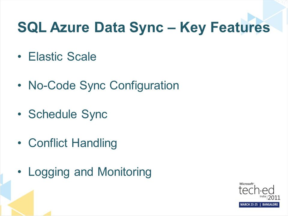 SQL Azure Data Sync – Key Features