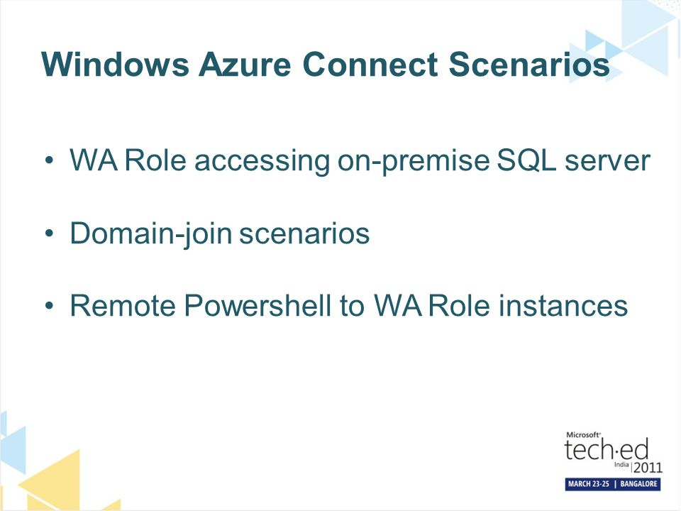 Windows Azure Connect Scenarios
