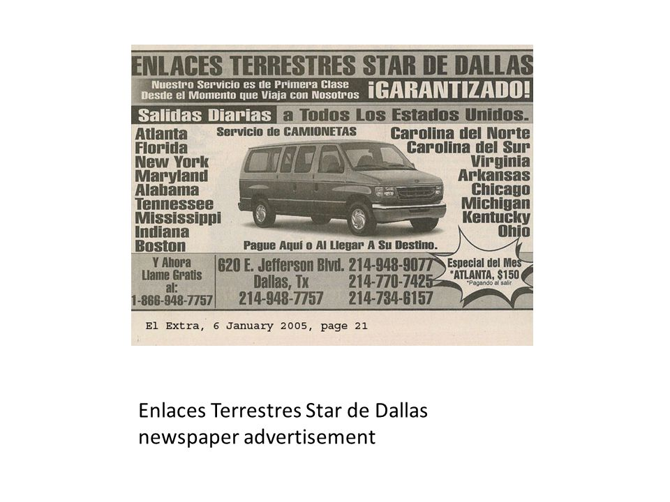 Enlaces Terrestres Star de Dallas newspaper advertisement