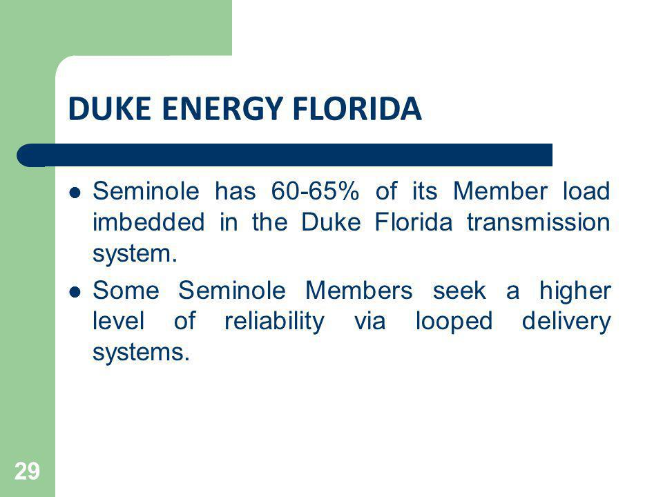 DUKE ENERGY FLORIDA Seminole has 60-65% of its Member load imbedded in the Duke Florida transmission system.