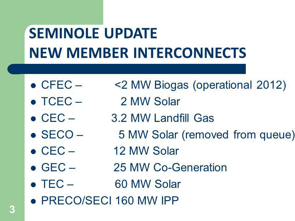 SEMINOLE UPDATE NEW MEMBER INTERCONNECTS