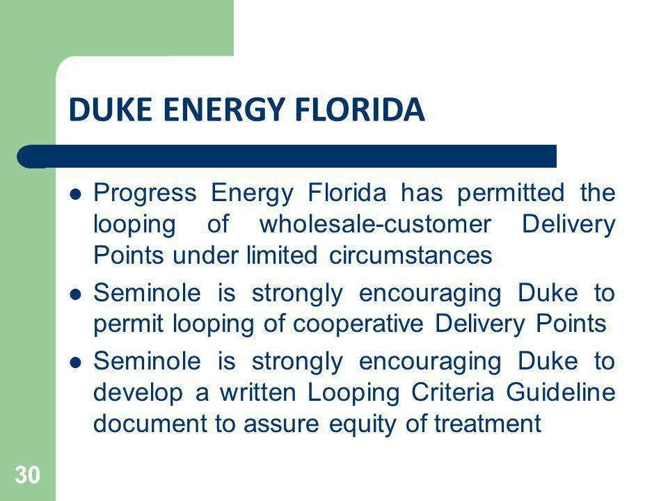 DUKE ENERGY FLORIDA Progress Energy Florida has permitted the looping of wholesale-customer Delivery Points under limited circumstances.