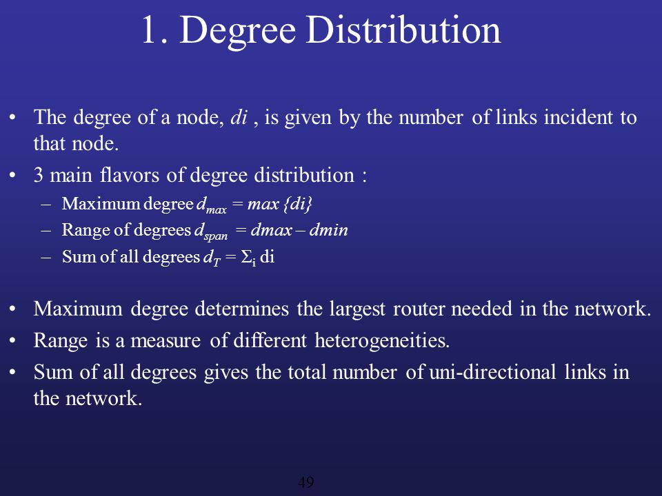1. Degree Distribution The degree of a node, di , is given by the number of links incident to that node.