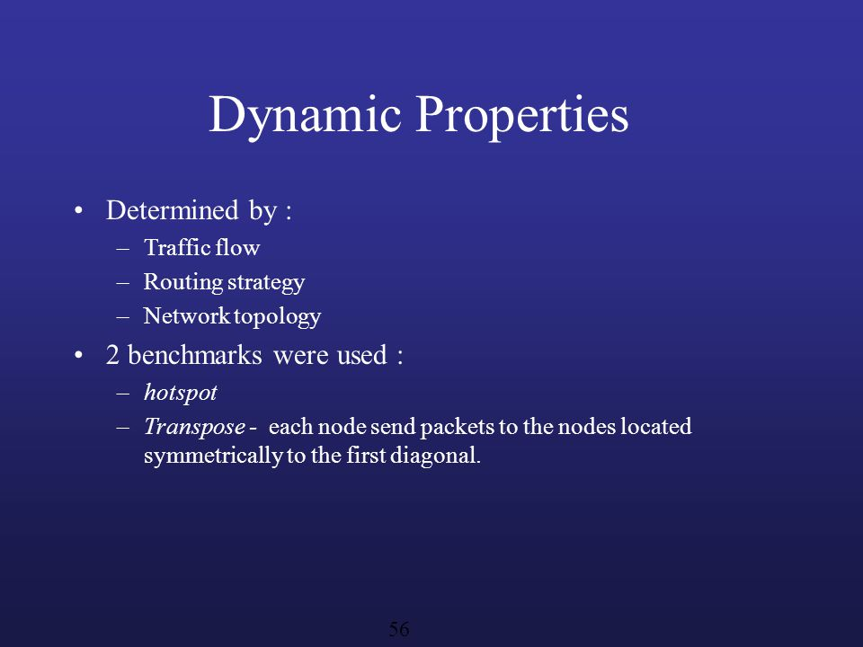 Dynamic Properties Determined by : 2 benchmarks were used :