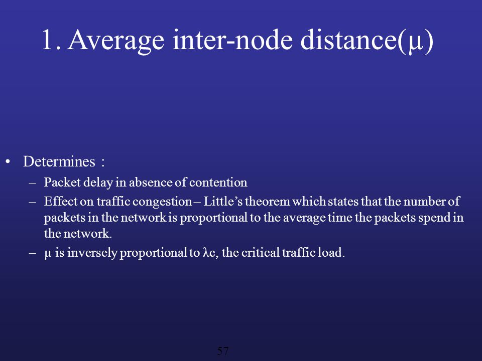1. Average inter-node distance(µ)