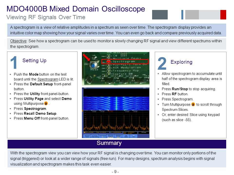 1 2 MDO4000B Mixed Domain Oscilloscope Viewing RF Signals Over Time