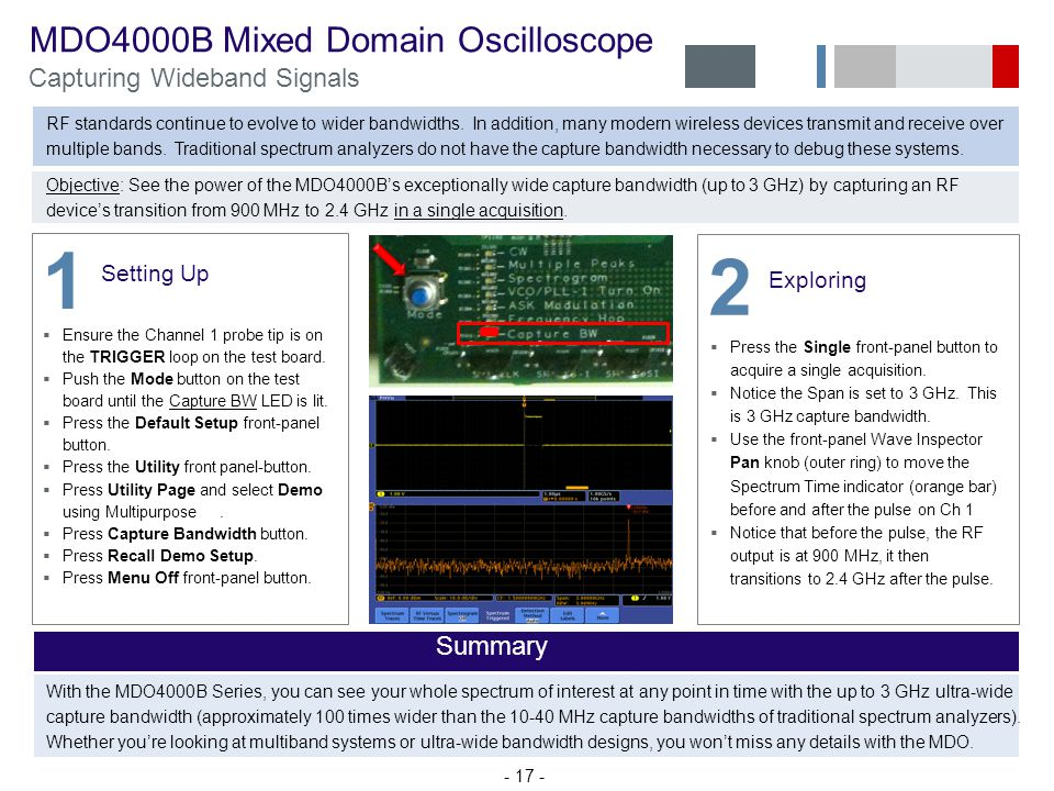1 2 MDO4000B Mixed Domain Oscilloscope Capturing Wideband Signals