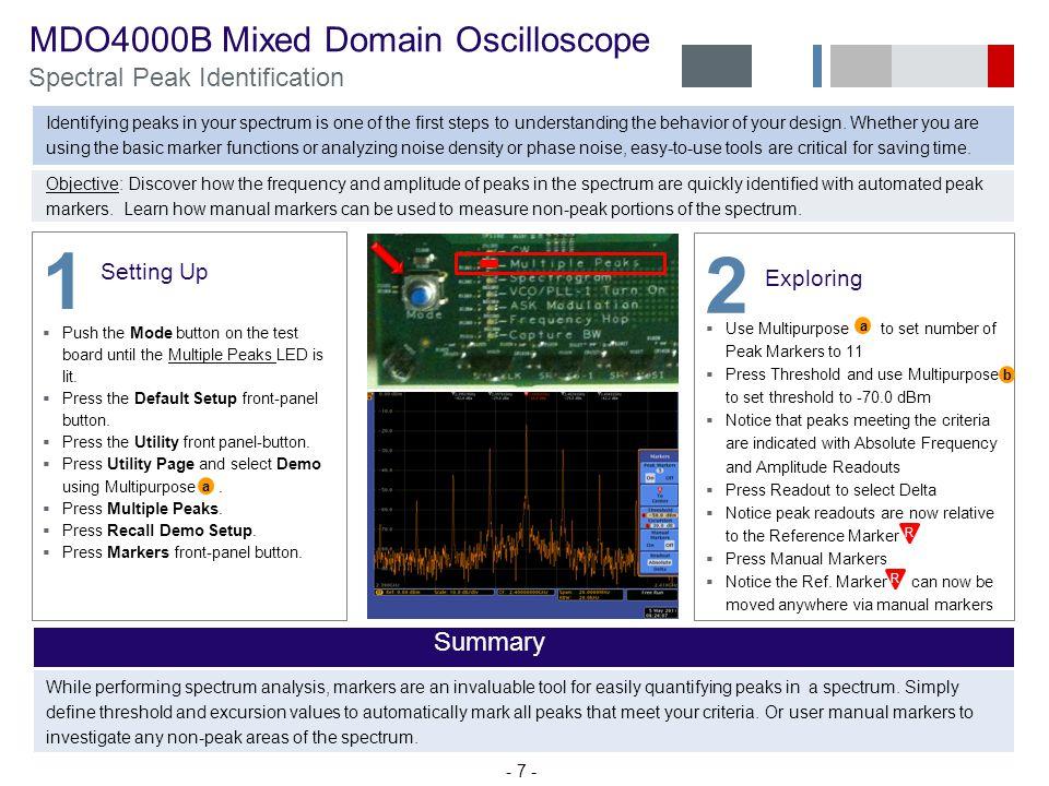 1 2 MDO4000B Mixed Domain Oscilloscope Spectral Peak Identification