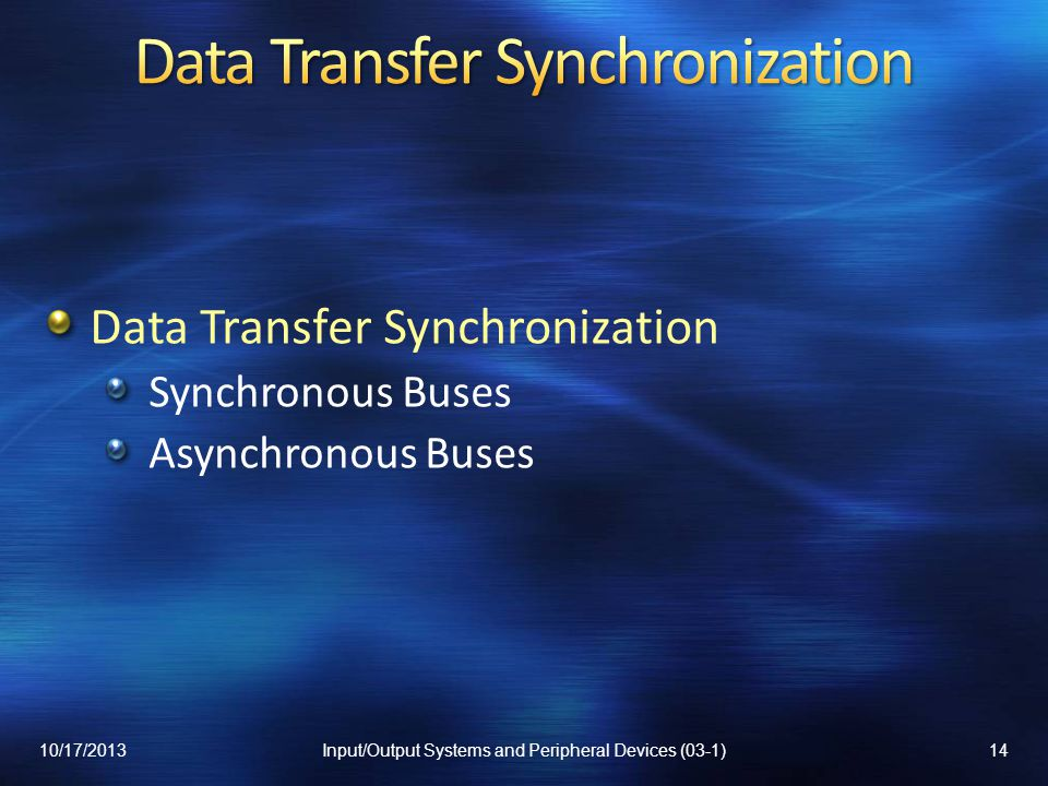 Data Transfer Synchronization