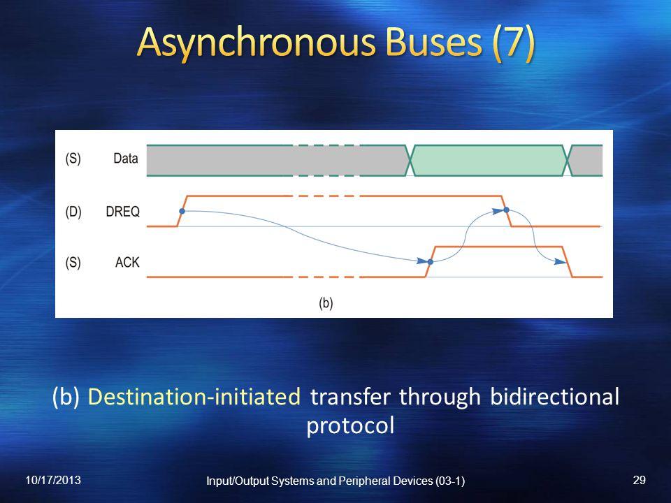 Asynchronous Buses (7) (b) Destination-initiated transfer through bidirectional protocol. 10/17/2013.
