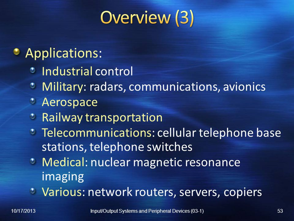 Input/Output Systems and Peripheral Devices (03-1)