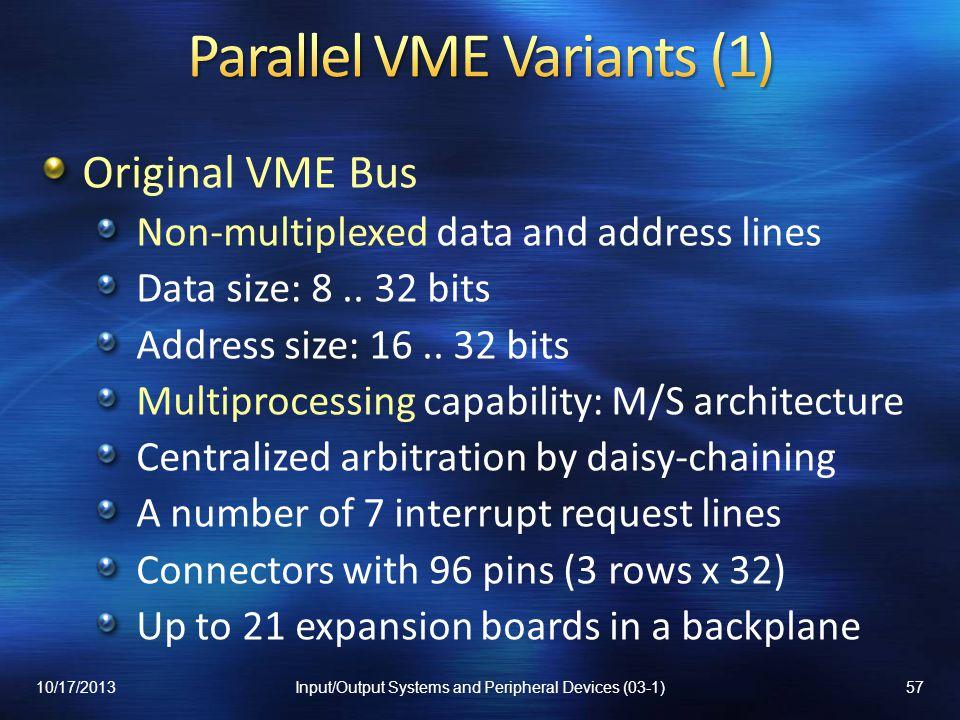 Parallel VME Variants (1)