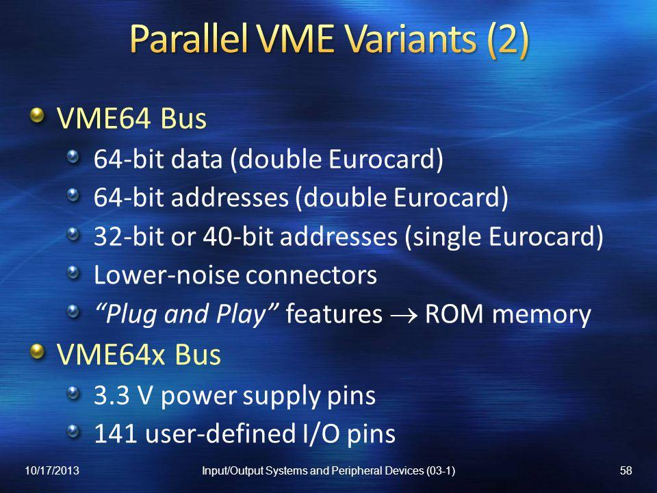 Parallel VME Variants (2)