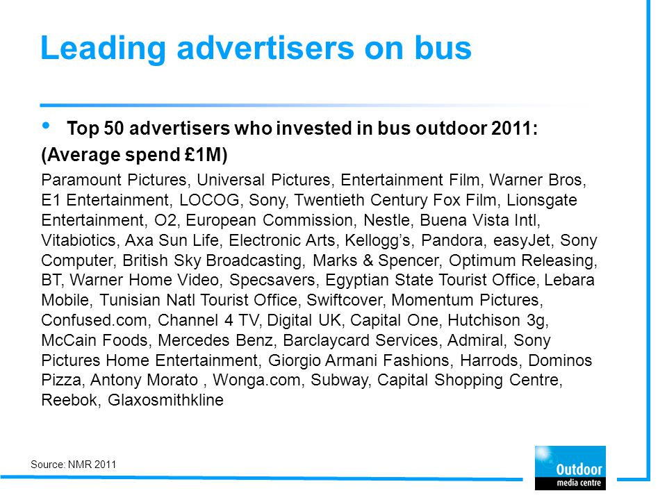 Leading advertisers on bus