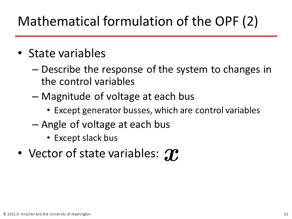 Mathematical formulation of the OPF (2)