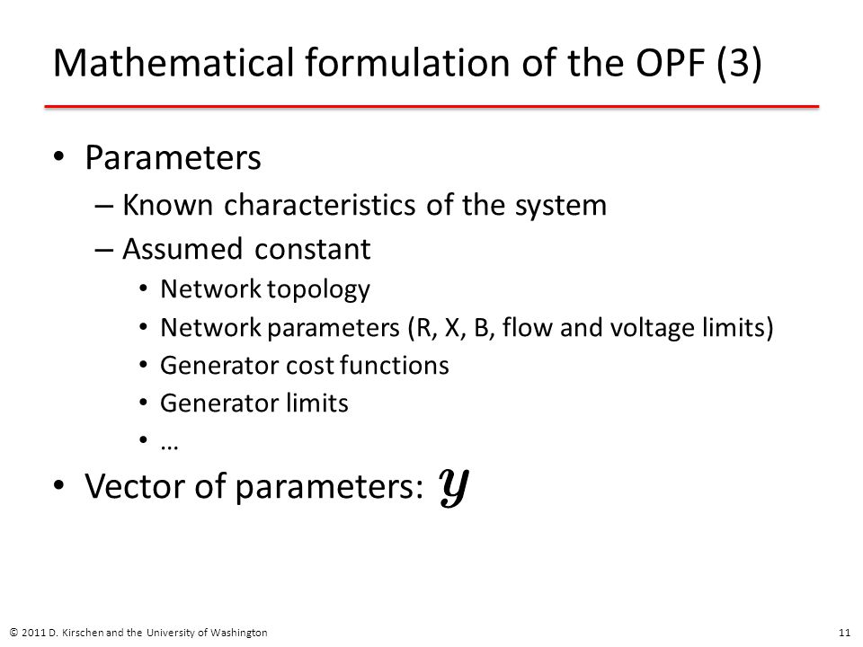 Mathematical formulation of the OPF (3)