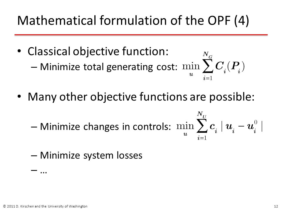 Mathematical formulation of the OPF (4)