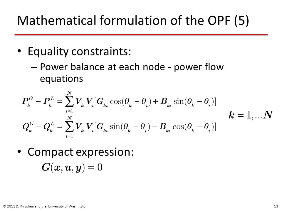 Mathematical formulation of the OPF (5)