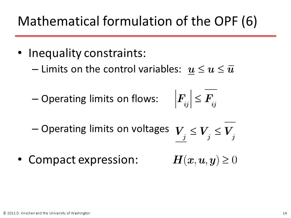 Mathematical formulation of the OPF (6)