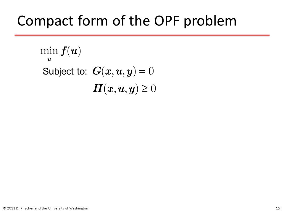 Compact form of the OPF problem