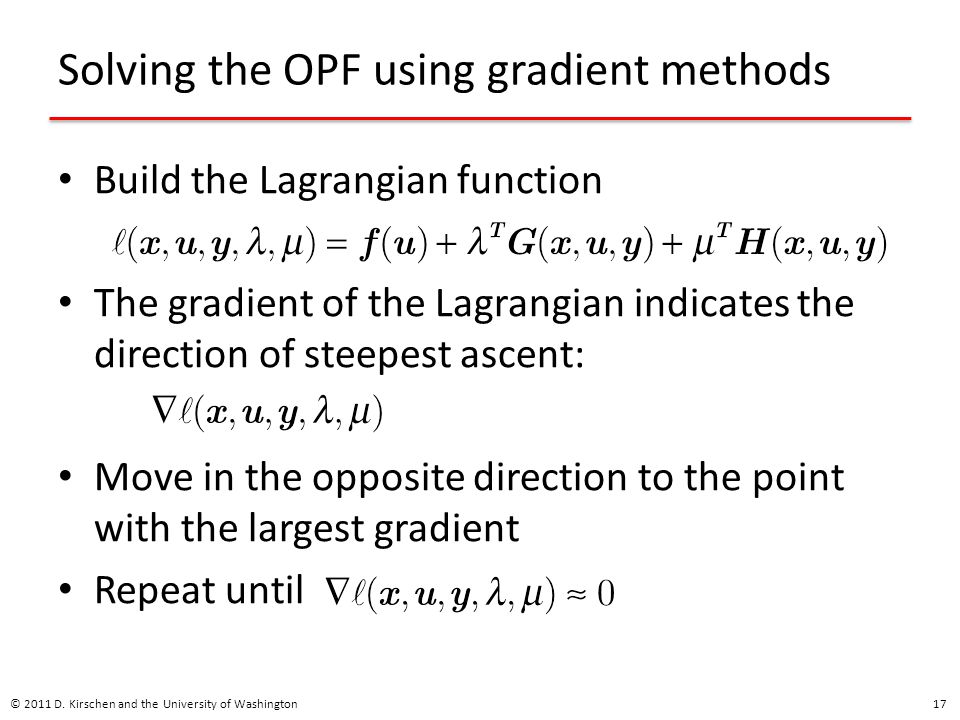 Solving the OPF using gradient methods