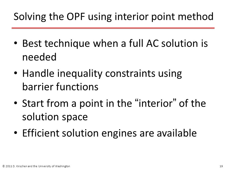 Solving the OPF using interior point method