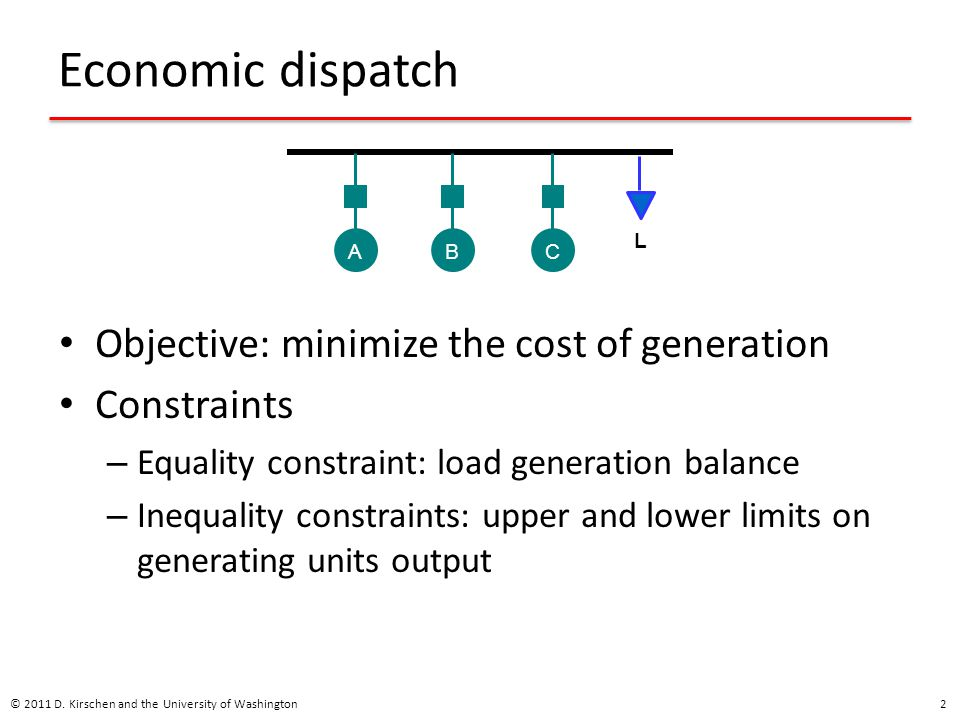 Economic dispatch Objective: minimize the cost of generation