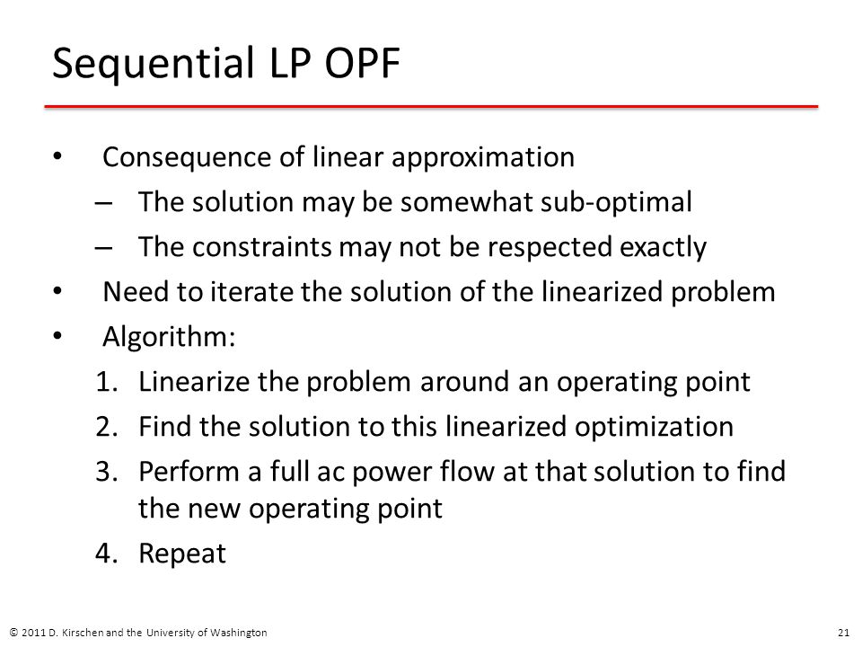 Sequential LP OPF Consequence of linear approximation