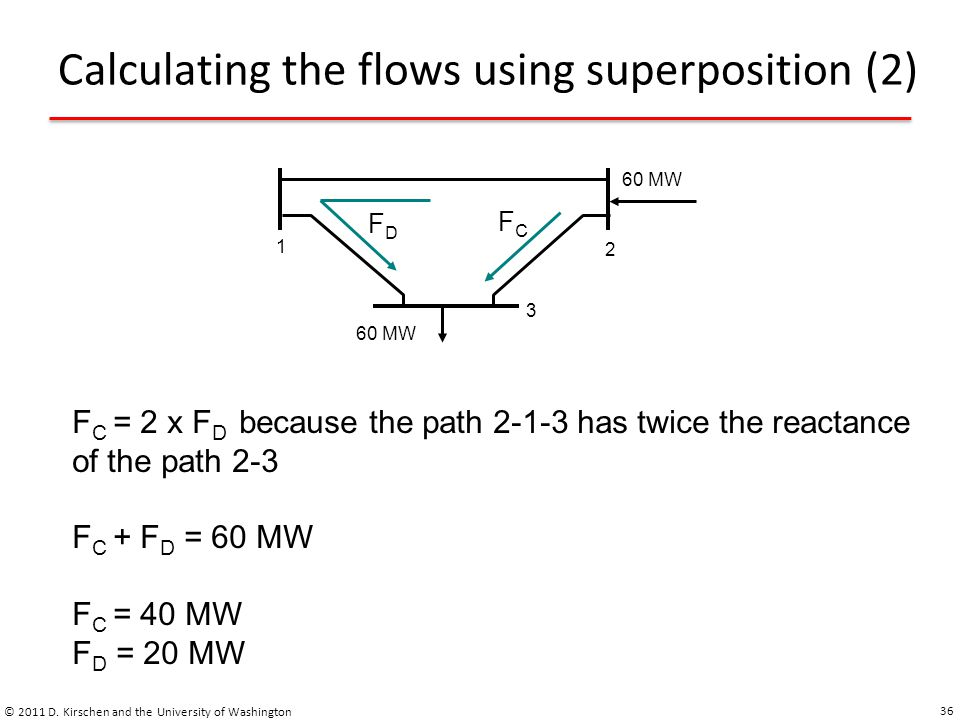 Calculating the flows using superposition (2)