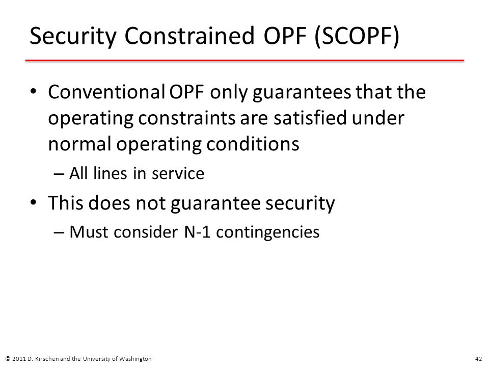 Security Constrained OPF (SCOPF)