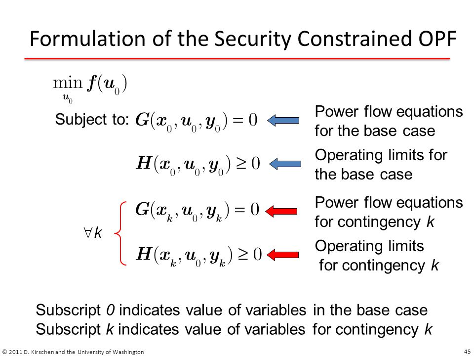 Formulation of the Security Constrained OPF