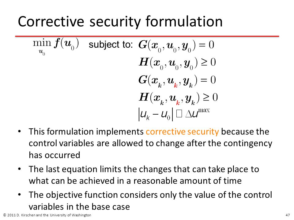 Corrective security formulation