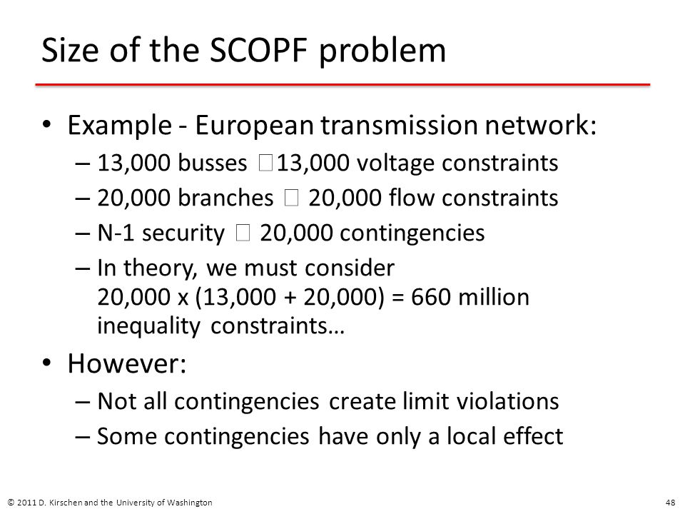 Size of the SCOPF problem