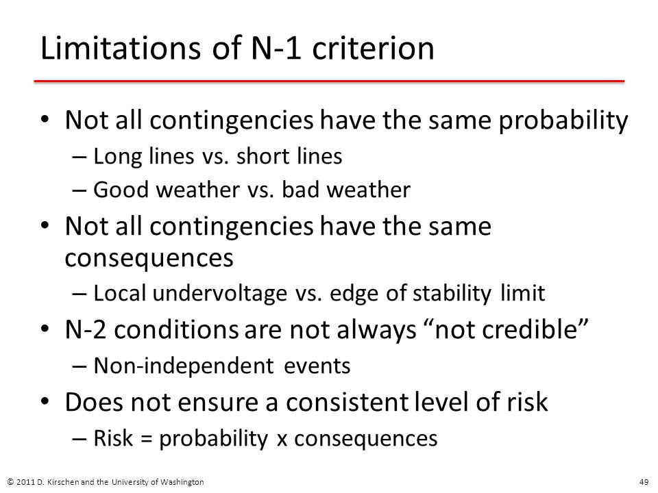 Limitations of N-1 criterion