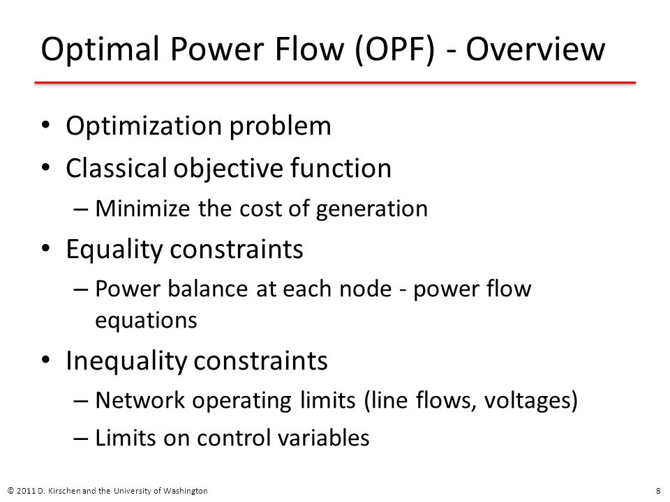 Optimal Power Flow (OPF) - Overview