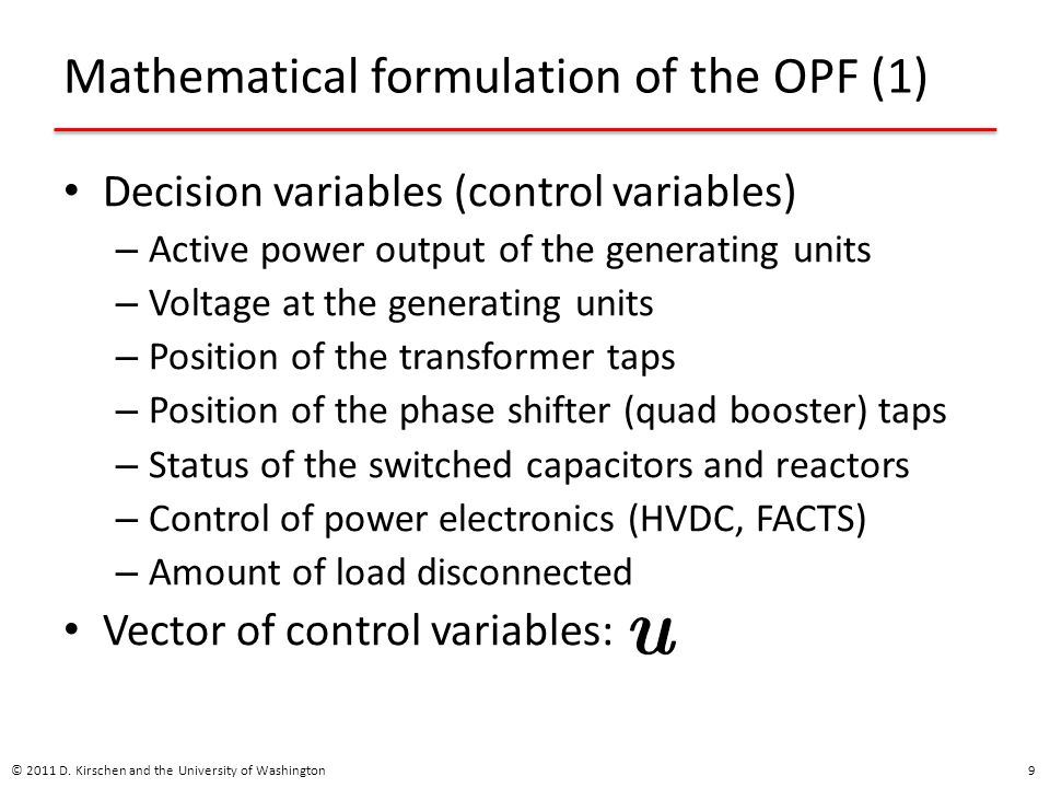Mathematical formulation of the OPF (1)