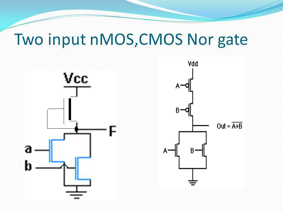 Two input nMOS,CMOS Nor gate