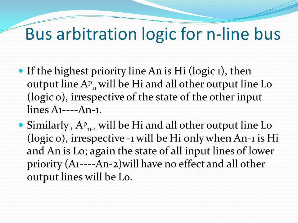 Bus arbitration logic for n-line bus
