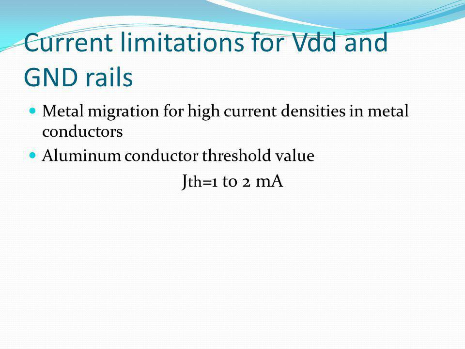 Current limitations for Vdd and GND rails