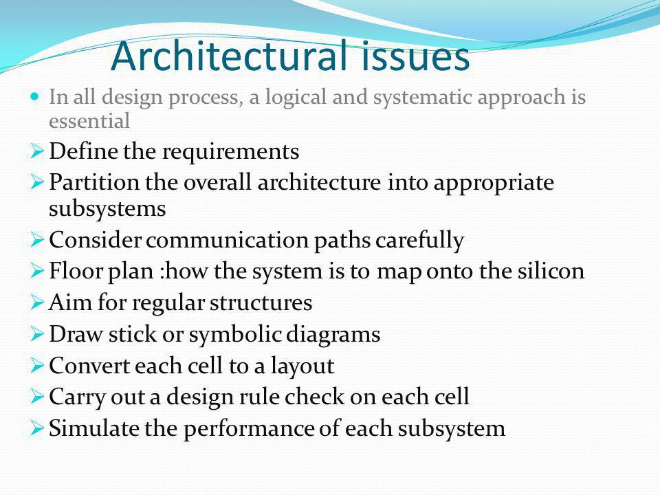 Architectural issues Define the requirements